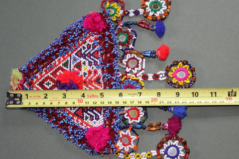 Tribal Patch with 3 Long Mirrored Dangles and Tassels length