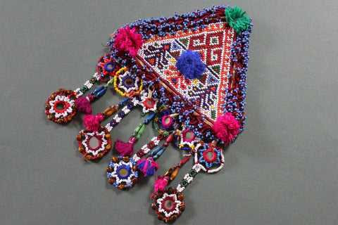 XL Tribal Patch with 4 Long Mirrored Dangles and Tassels
