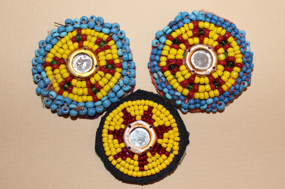 Yellow Beaded Rounds with Mirrored Centers