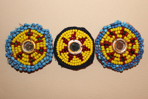 Yellow Beaded Rounds with Mirrored Centers close up 2