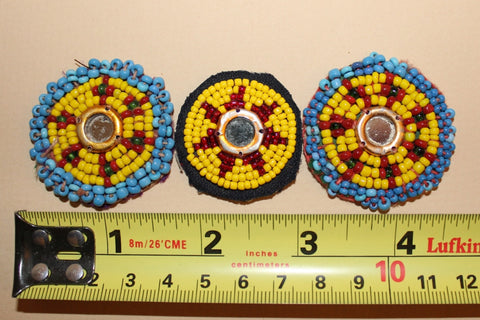 Yellow Beaded Rounds with Mirrored Centers size reference