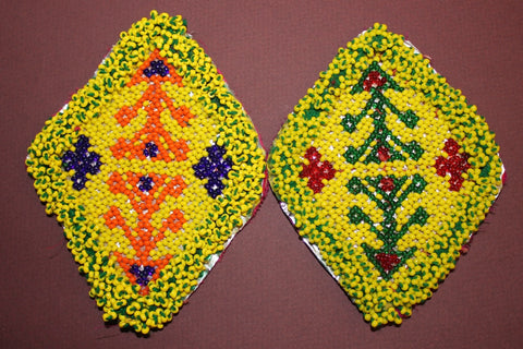 Diamond Shaped Coordinating Pair of Beaded Medallions