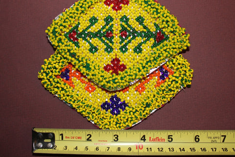 Diamond Shaped Coordinating Pair of Beaded Medallions size