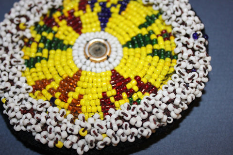 Yellow Beaded Round with Mirrored Center close up