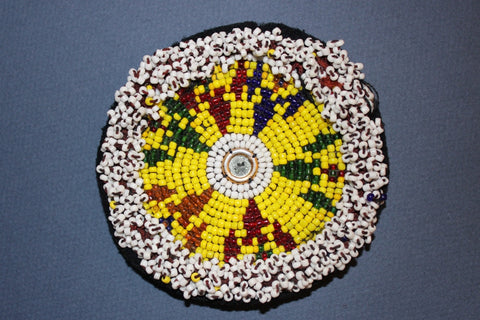 Yellow Beaded Round with Mirrored Center