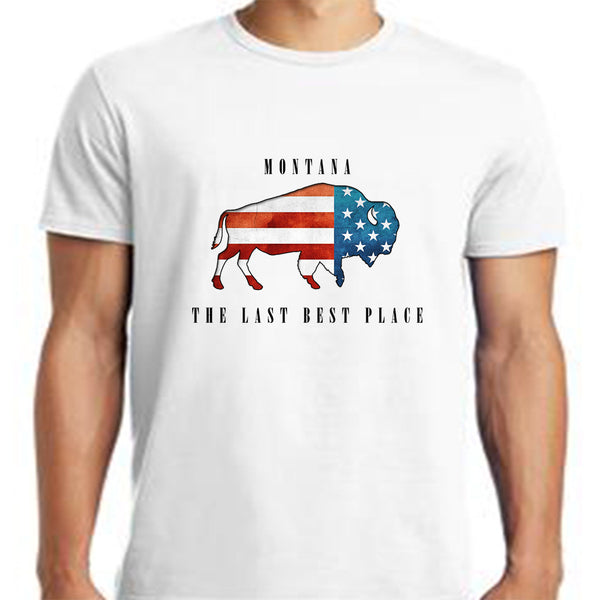 Bison American Flag T Shirt Gusts Of Big Timber