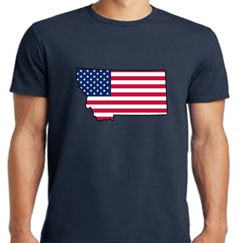 Montana State with American Flag