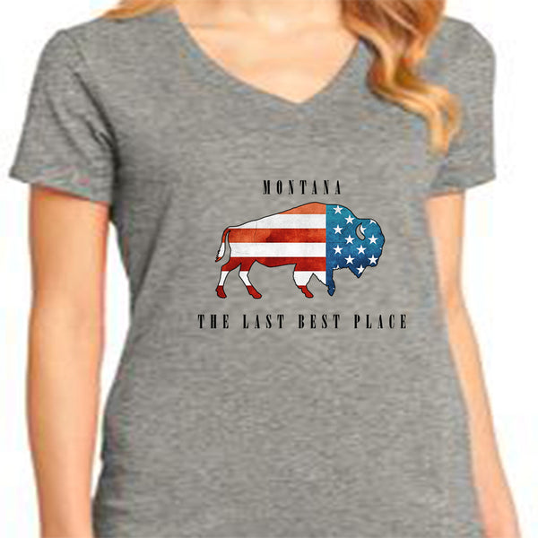Bison American Flag T-Shirt