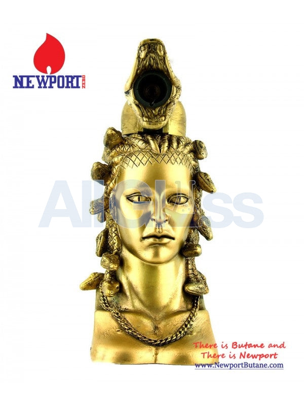 "Newport Zero 6"" Regular Medusa Torch - Gold , Smoking Accessory - Newport Butane, AllGlass.com"