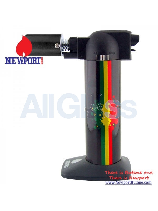 "Newport Zero 6"" Regular Torch - Rasta Design , Smoking Accessory - Newport Butane, AllGlass.com  - 1"