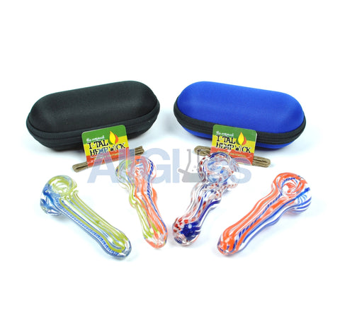 American Glass Spoon + Carrying Pouch + FREE Hempwick Travel Kit , Glass Handpipe - AllGlass.com, AllGlass.com