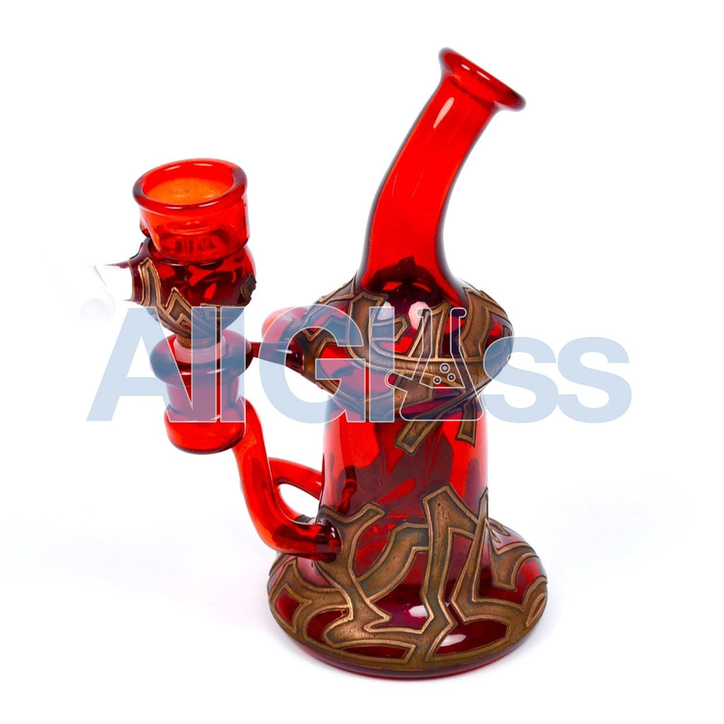 Ryan Fitt Klein Recycler with Matching Bucket Set - Pomegranate , Glass Waterpipe - NYG&G, AllGlass.com