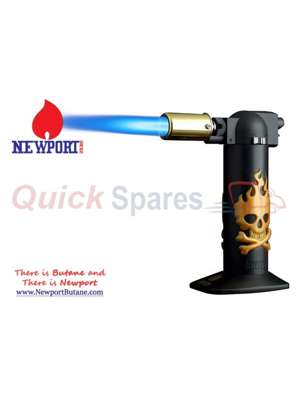 "Newport Zero 6"" Regular Torch - Gold Skull , Smoking Accessory - Newport Butane, AllGlass.com  - 1"