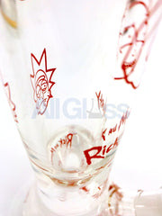 Rick and Morty Red Label All Over Print 9mm Thick Funnel Pinch 15 Inch Beaker Bong by Fan Brands USA