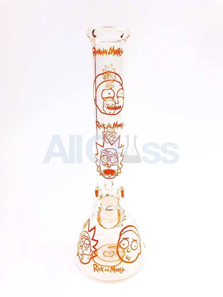 Rick and Morty Orange Label All Over Print 9mm Thick 15 Inch Beaker by Fan Brands USA