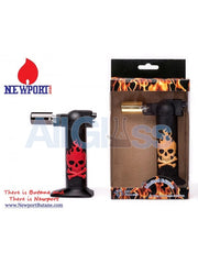 "Newport Zero 6"" Regular Torch - Gold Skull , Smoking Accessory - Newport Butane, AllGlass.com  - 2"