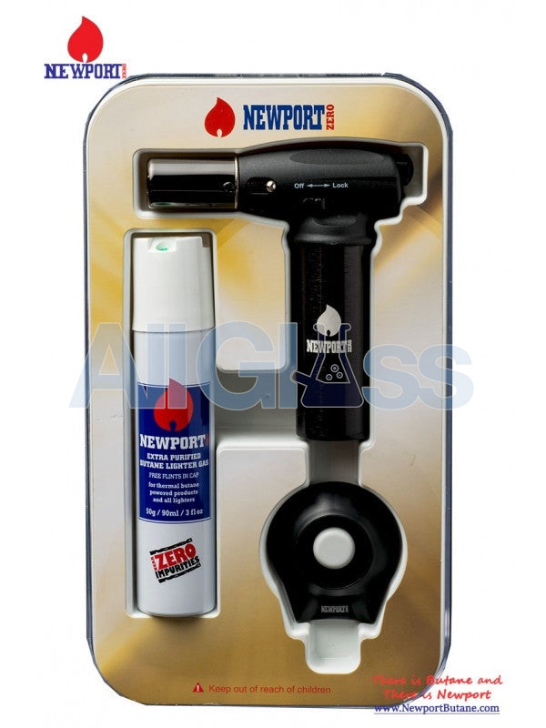 Newport Turbo Torch + Butane 90ml Package - Black , Smoking Accessory - Newport Butane, AllGlass.com