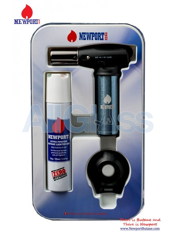 Newport Turbo Torch + Butane 90ml Package - Dark Gray , Smoking Accessory - Newport Butane, AllGlass.com