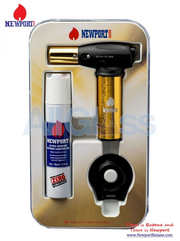 Newport Turbo Torch + Butane 90ml Package - Gold , Smoking Accessory - Newport Butane, AllGlass.com
