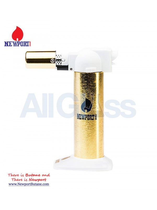"Newport Zero 6"" Regular Torch - Gold White , Smoking Accessory - Newport Butane, AllGlass.com  - 1"
