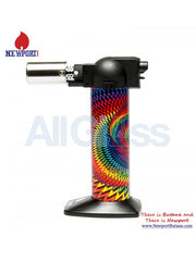 "Newport Zero 6"" Regular Torch - Wavy Rasta Black , Smoking Accessory - Newport Butane, AllGlass.com  - 1"