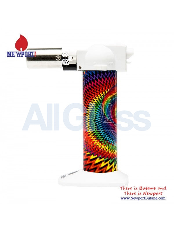 "Newport Zero 6"" Regular Torch - Wavy Rasta White , Smoking Accessory - Newport Butane, AllGlass.com  - 1"