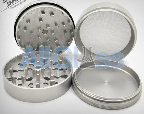 Santa Cruz Shredder Large 4-piece Grinder - Silver , Smoking Accessory - SantaCruzShredder, AllGlass.com