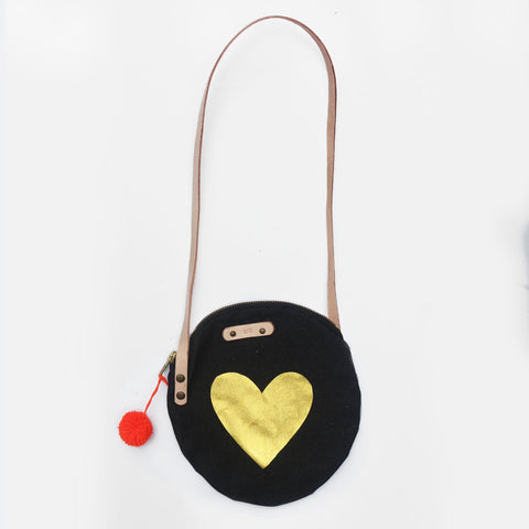 The Heart Of Gold Denim Leather Strap Shoulder Bag