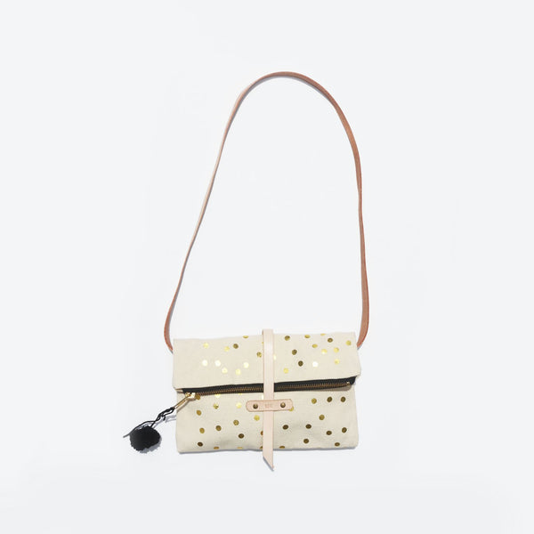 The Raindrops and Dreams Fold-over Leather Strap Shoulder Bag