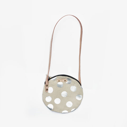 metallic silver dots bag