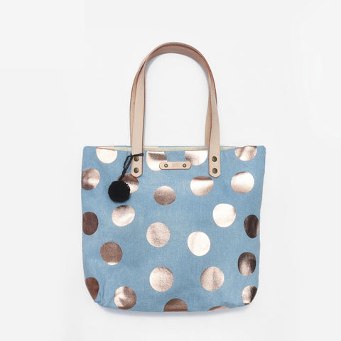 The Going Dotty Denim Leather Strap Tote Love Bag