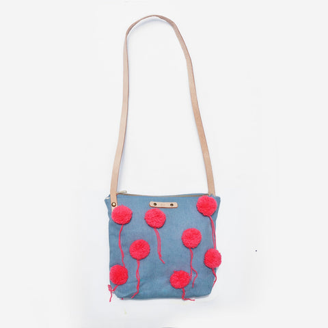 The Little Cheerleader Denim Leather Strap Shoulder Bag