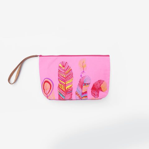 The Dreams and Feathers Leather strap Pouch