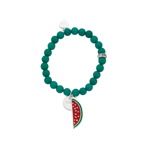 "Watermelon ""Juicy"" Word Charm Bracelet"