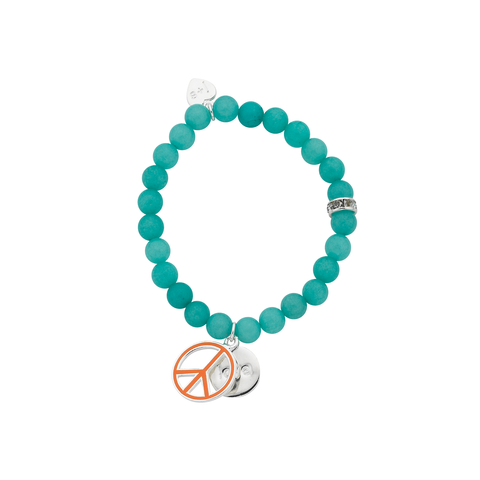 "Orange Peace ""Love"" Word Charm Bracelet"