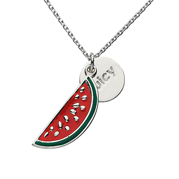 "Watermelon ""Juicy"" Word Charm Necklace"
