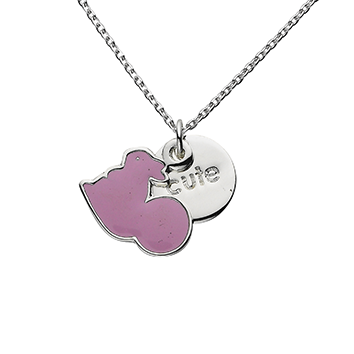 "Squirrel ""Cute"" Word Charm Necklace"
