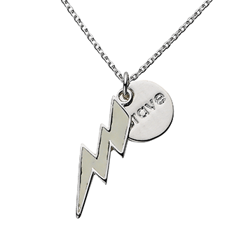 "White Bolt ""Brave"" Word Charm Necklace"