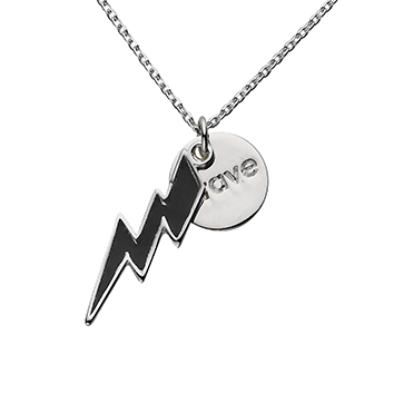 "Black Bolt ""Brave"" Word Charm Necklace"