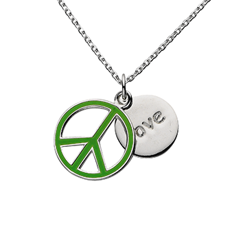 "Green Peace ""Love"" Word Charm Necklace"