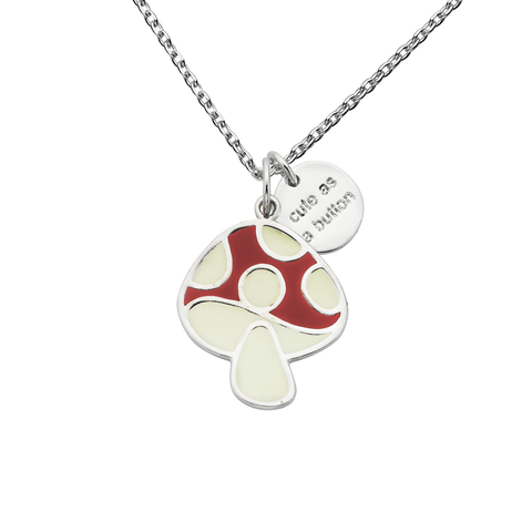 "Mushroom ""Cute As A Button"" Word Charm Necklace"