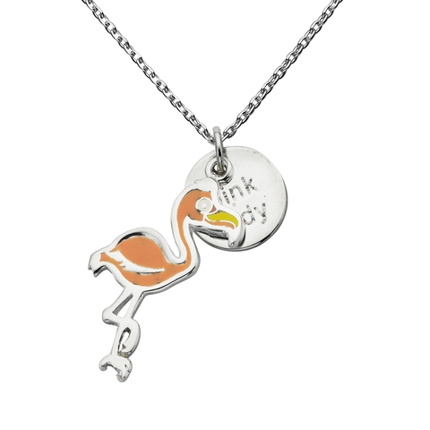 "Flamingo ""Pink Lady"" Word Charm Necklace"