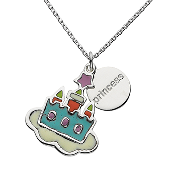 "Castle ""Princess"" Word Charm Necklace"