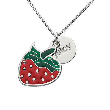 "Strawberry ""Juicy"" Word Charm Necklace"
