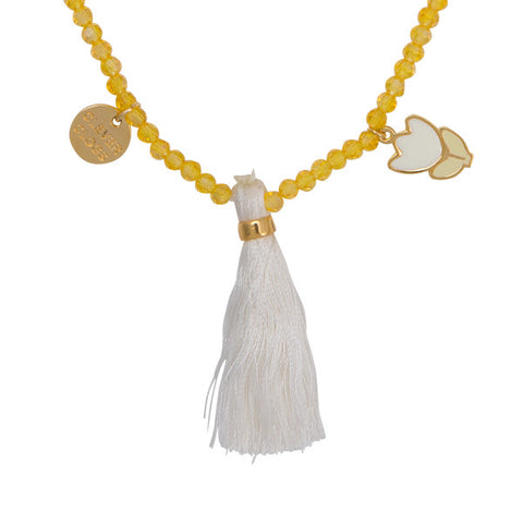 "Tulip ""Clever Clogs"" Word Charm Tassel  Necklace"