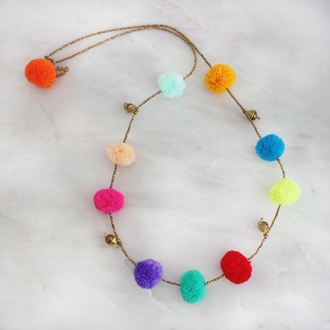 necklace for children with pom pom