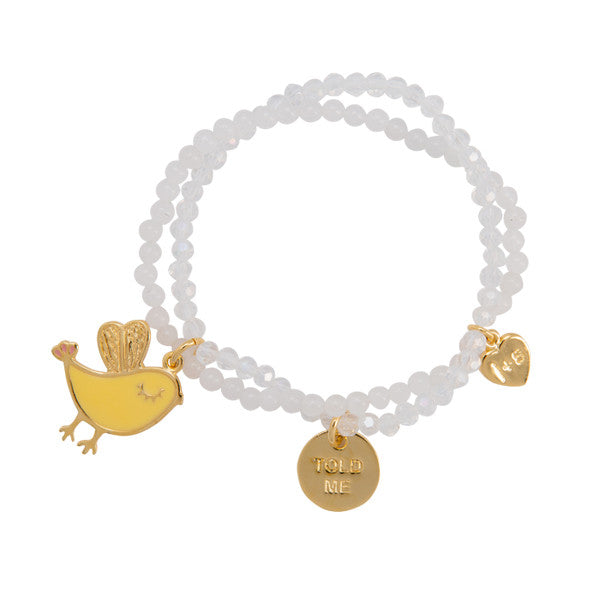 "Cute Bird ""Lil Birdy Told Me"" Word Charm Bracelet"