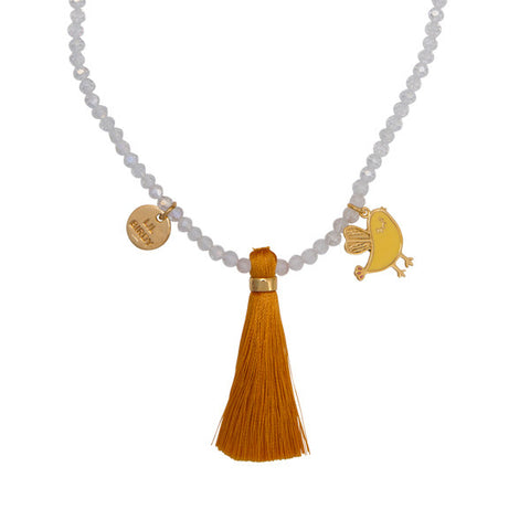 "Cute Bird ""Lil Birdy Told Me"" Word Charm Tassel Necklace"