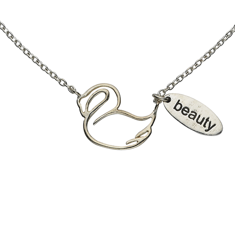 "Swan ""Beauty"" Word Charm Sterling Silver Necklace"