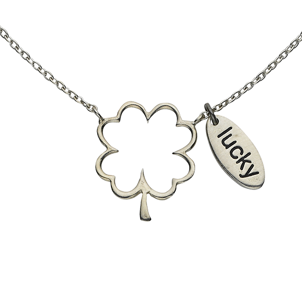 "Clover ""Lucky"" Word Charm Sterling Silver Necklace"